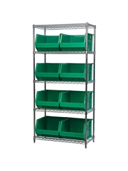 "AKROBIN® WIRE SYSTEMS- Green , 18 x 36 x 74"", 5 Shelves, 9 Bins"