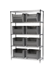 "STAK-N-STORE WIRE SYSTEMS- Gray , 18 x 36 x 74"", 9 Bins"