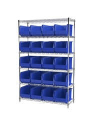 "AKROBIN® WIRE SYSTEMS- Blue , 18 x 48 x 74"", 6 Shelves, 24 Bins"