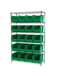 "AKROBIN® WIRE SYSTEMS- Green , 18 x 48 x 74"", 6 Shelves, 24 Bins"