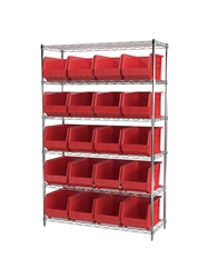 "AKROBIN® WIRE SYSTEMS- Red , 18 x 48 x 74"", 6 Shelves, 24 Bins"