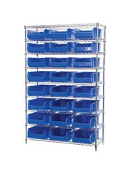 "AKROBIN® WIRE SYSTEMS- Blue , 18 x 48 x 74"", 9 Shelves, 24 Bins"