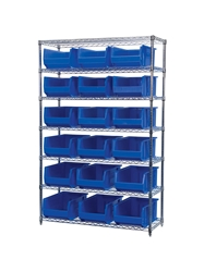 "AKROBIN® WIRE SYSTEMS- Blue , 18 x 48 x 74"", 7 Shelves, 18 Bins"