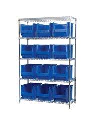 "AKROBIN® WIRE SYSTEMS- Blue , 18 x 48 x 74"", 5 Shelves, 12 Bins"