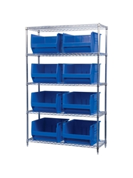 "AKROBIN® WIRE SYSTEMS- Blue , 18 x 48 x 74"", 5 Shelves, 8 Bins"
