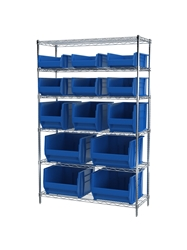 "AKROBIN® WIRE SYSTEMS- Blue , 18 x 48 x 74"", 6 Shelves, 4 Bins"