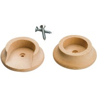 410DI Waddell Closet Rod Socket 410DI, Waddell 1-3/8 In. Wood Closet Rod Socket, Natural (2-Pack)