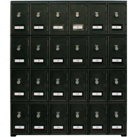 "United Visual Products 24 Door Cell Phone Locker With Combo Locks, 22""Wx16""Dx26""H, Black, Assembled"