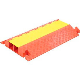 "CP2X325 2-Channel Heavy Duty Cable Guard, 36""L x 22""W x 4-1/8""H, Yellow/Orange"