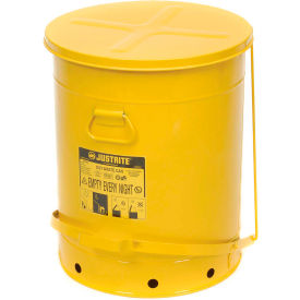 09701 Justrite 21 Gallon Oily Waste Can, Yellow - 09701