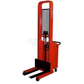 "B652 PrestoLifts; Pacemaker Battery Powered Lift Stacker B652 1000 Lb. Adjustable 25"" Forks"