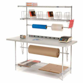 185698 Packaging Workbench & Riser With 3 Shelves