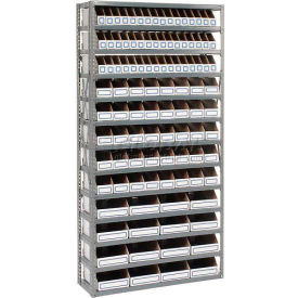 235010 Steel Open Shelving with 104 Corrugated Shelf Bins 13 Shelves - 36x12x73