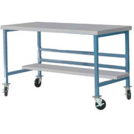 "DSM3053465-BL Mobile 60"" X 30"" Plastic Top Workbench - Blue"
