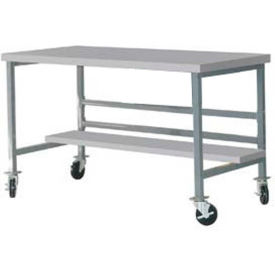 "DSM3063465-GY Mobile 72"" X 30"" Plastic Top Workbench - Gray"