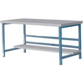 "DSB3053165-BL Stationary 60"" X 30"" Plastic Laminate Square Edge Workbench - Blue"