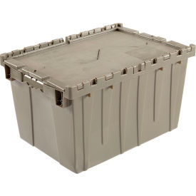 "Global Industrial™ Plastic Shipping/Storage Tote w/Attached Lid, 23-3/4""x19-1/4""x12-1/2"", Gray"