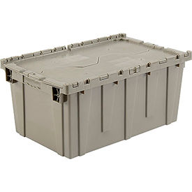 "Global Industrial™ Shipping & Storage Container W/ Attached Lid, Gray, 27-3/16""x16-5/8""x12-1/2"""