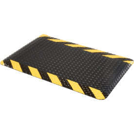 "276016CB Diamond Plate Ergonomic Mat 9/16"" Thick 24""X36"", Black/Chevron Border"