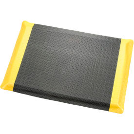"276016YB Diamond Plate Ergonomic Mat 9/16"" Thick 24""X36"", Black/Yellow Border"
