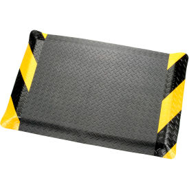 "276017CB Diamond Plate Ergonomic Mat 9/16"" Thick 36""X60"", Black/Chevron Border"