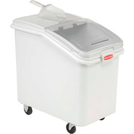 FG360388WHT Rubbermaid; 3603-88 4.1 Cu. Ft Plastic Bin Truck with Clear Lid & Scoop