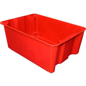 "7806085280 Molded Fiberglass Nest and Stack Tote 780608 - 25-1/4"" x 18"" x10"", Pkg Qty 5, Red"