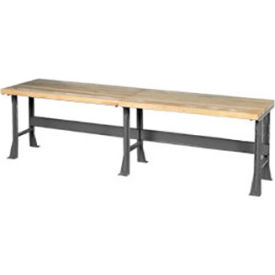 "488011 144""W x 30""D Extra Long Industrial Workbench, Maple Butcher Block Square Edge - Gray"