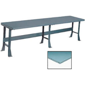 "500301 144"" W x 30"" D Extra Long Production Workbench, Steel Square Edge - Gray"