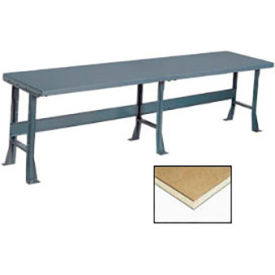 "500352 120"" W x 36"" D Extra Long Production Workbench, Shop Top Square Edge - Gray"