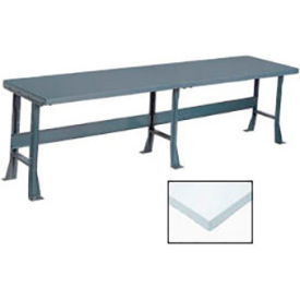 "500358 120"" W x 30"" D Extra Long Production Workbench, Plastic Laminate Square Edge - Gray"