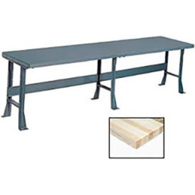 "500369 120"" W x 36"" D Extra Long Production Workbench, Maple Butcher Block Square Edge - Gray"