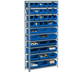 "603472BL 10 Shelf Open Steel Shelving With 36 Akro Bins 36""X18""X73"""