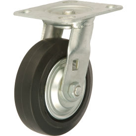 "TP65-5-RCI Heavy Duty Swivel Plate Caster 5"" Mold-on Rubber Wheel 350 lb. Capacity"