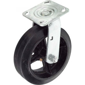 "TP70-8-RAL Heavy Duty Swivel Plate Caster 8"" Mold-On Rubber Wheel 600 Lb. Capacity"