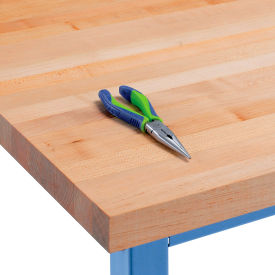 "IST012-O 60"" W x 30"" D x 1-3/4"" Thick, Maple Butcher Block Square Edge Workbench Top"