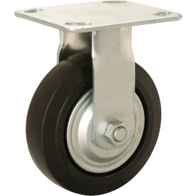 "CW3-515R-MOR-TG Heavy Duty Rigid Plate Caster 5"" Mold-on Rubber Wheel 350 lb. Capacity"