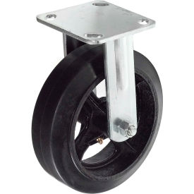 "TP70R-8-RAL Heavy Duty Rigid Plate Caster 8"" Mold-On Rubber Wheel 600 Lb. Capacity"