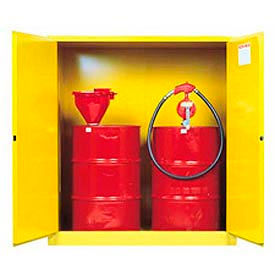 899100 Justrite Drum Storage Cabinet 110 Gallon Manual Close Vertical Flammable Yellow