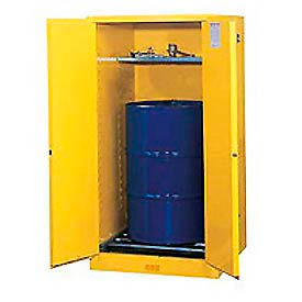896270 Justrite Drum Storage Cabinet 55 Gallon Self-Close Vertical Flammable Yellow