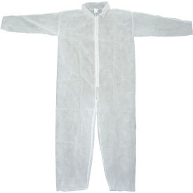 DCWH-XL Disposable Coveralls With Open Ended Wrists/Ankles, White, XL