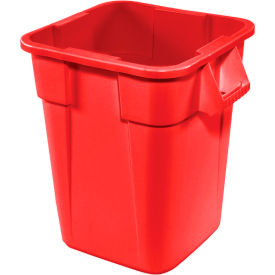 FG352600RED 28 Gallon Square Rubbermaid Brute Waste Receptacles - Red 3526