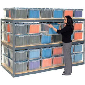 "Global Industrial™ Record Storage Rack 48""W x 48""D x 84""H With Polyethylene File Boxes - Gray"
