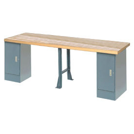 "607955 144"" W x 36"" D Extra Long Industrial Workbench, Maple Butcher Block Square Edge - Gray"