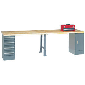 "607963 144"" W x 30"" D Extra Long Industrial Workbench, Shop Top Safety Edge - Gray"