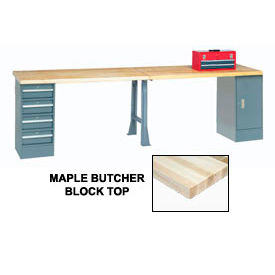 "607967 144"" W x 30"" D Extra Long Production Workbench, Maple Butcher Block Square Edge - Gray"