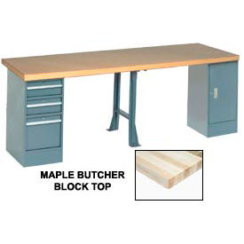 "607973 144"" W x 30"" D Extra Long Production Workbench, Maple Butcher Block Square Edge - Gray"