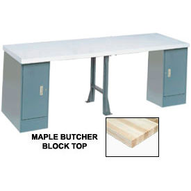 "607970 144"" W x 30"" D Extra Long Production Workbench, Maple Butcher Block Square Edge - Gray"