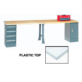 "607978 120"" W x 30"" D Extra Long Production Workbench, Plastic Laminate Square Edge - Gray"