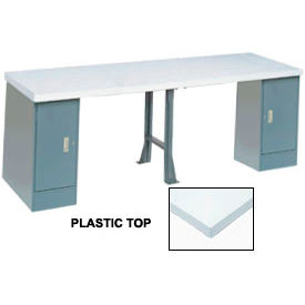 "607981 120"" W x 30"" D Extra Long Production Workbench, Plastic Laminate Square Edge - Gray"